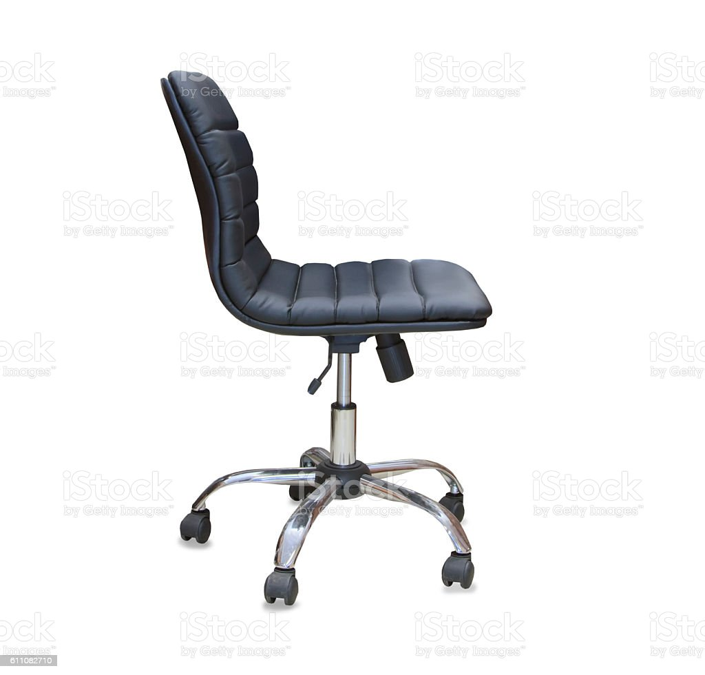 The office chair from black leather. Isolated stock photo