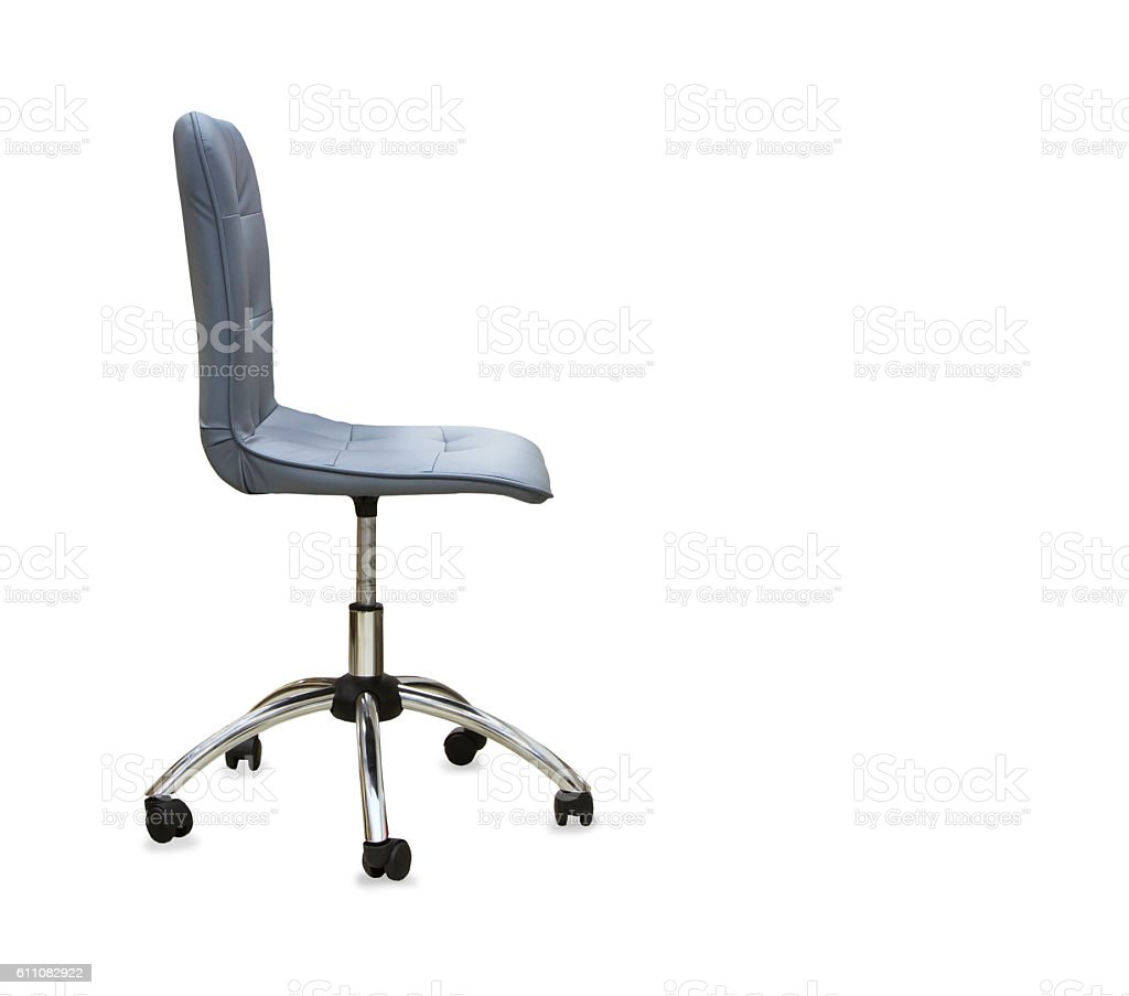 The office chair from gray leather. Isolated stock photo