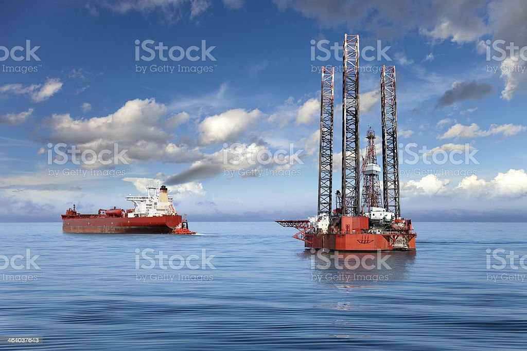 The offshore drilling oil rig. stock photo