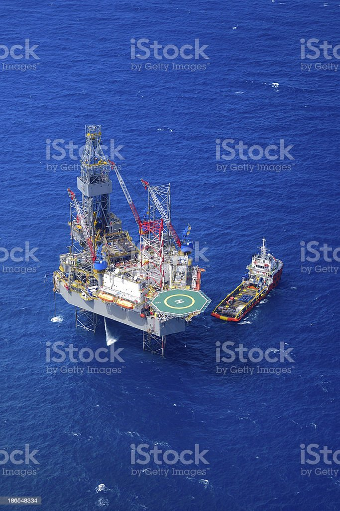 The offshore drilling oil rig top view from aircraft. royalty-free stock photo