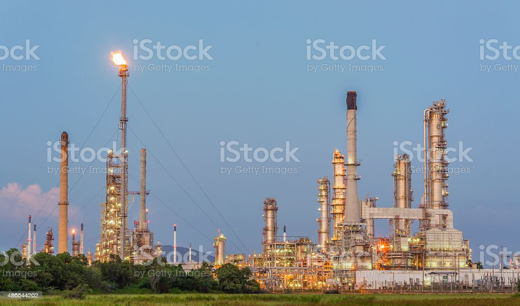 The oil refinery in the evening. stock photo