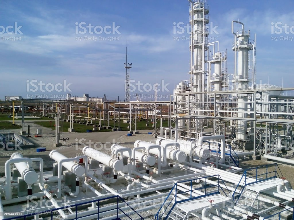 The oil refinery stock photo