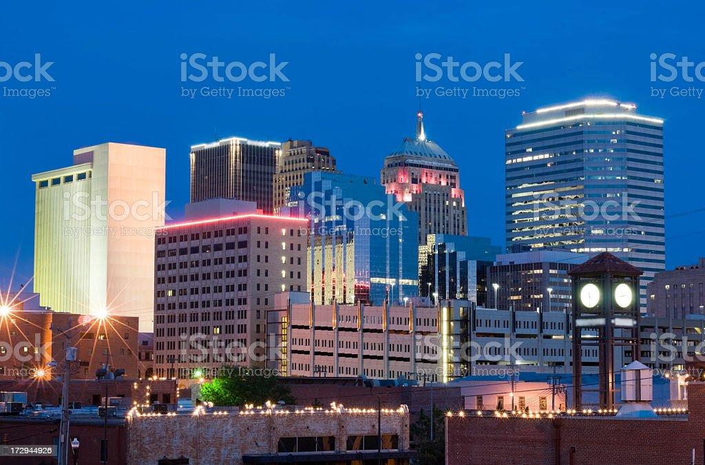 The Oklahoma City skyline at dusk royalty-free stock photo