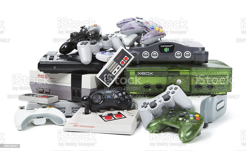 The Old and New of Console Gaming stock photo