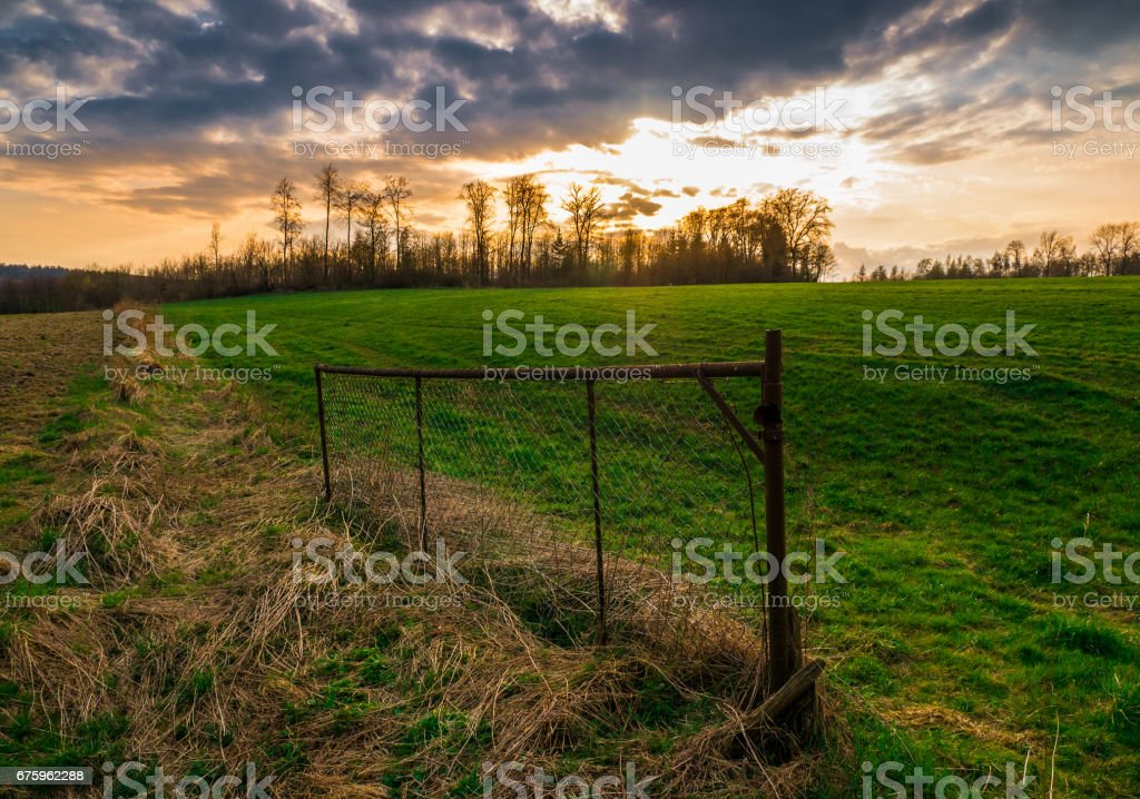The old and rusty wire fence in a field at sundown stock photo