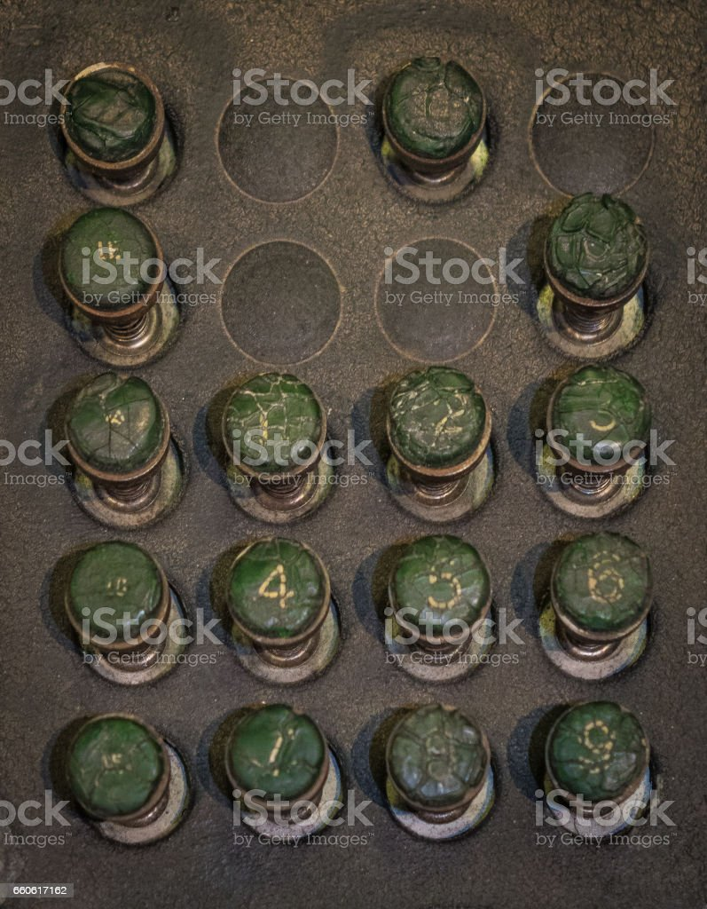 The old and vintage keyboard of a control panel stock photo