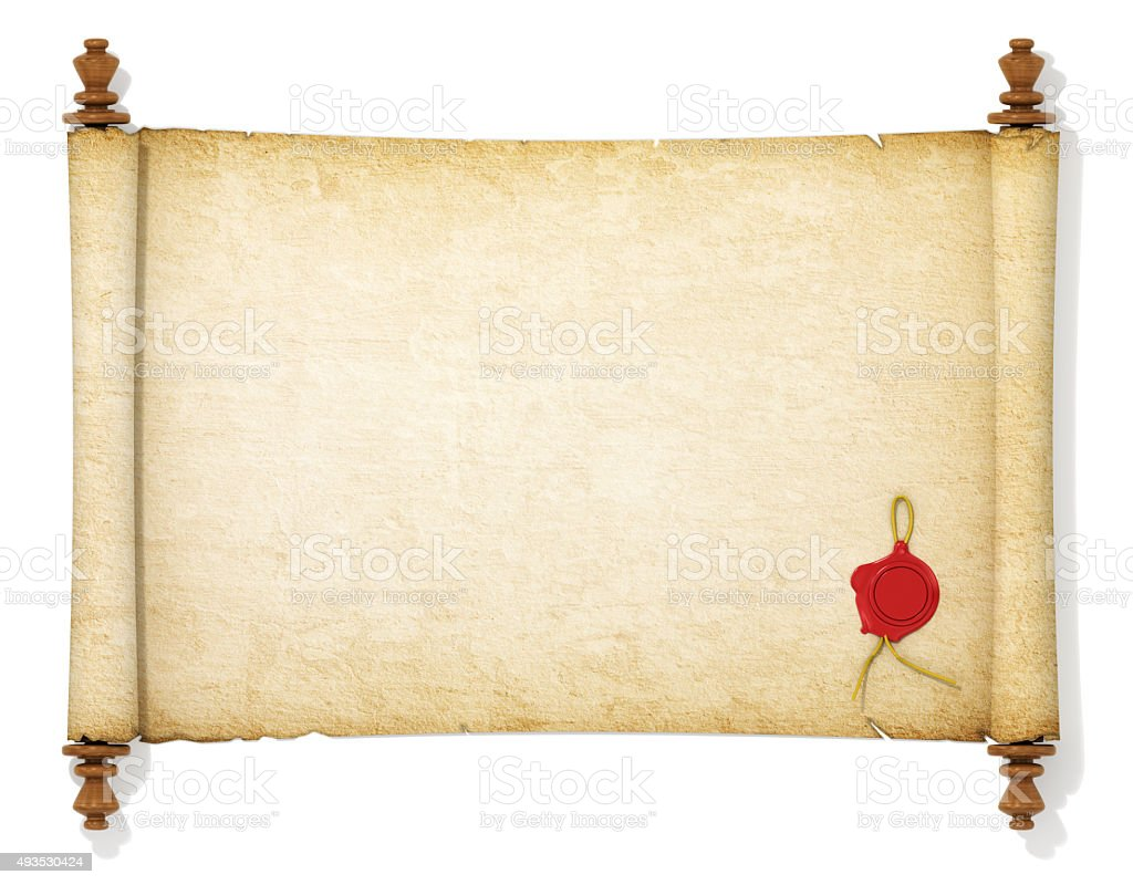 The old and yellowed scroll paper stock photo