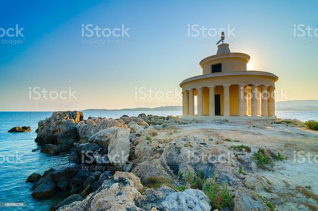 The old beacon in Argostoli stock photo