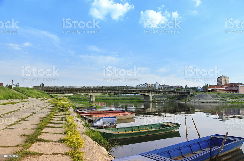 The old bridge and boats royalty-free stock photo