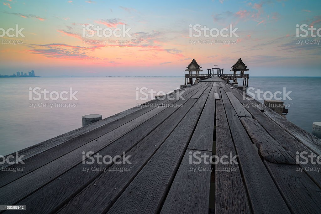 The old bridge and the evening light. stock photo