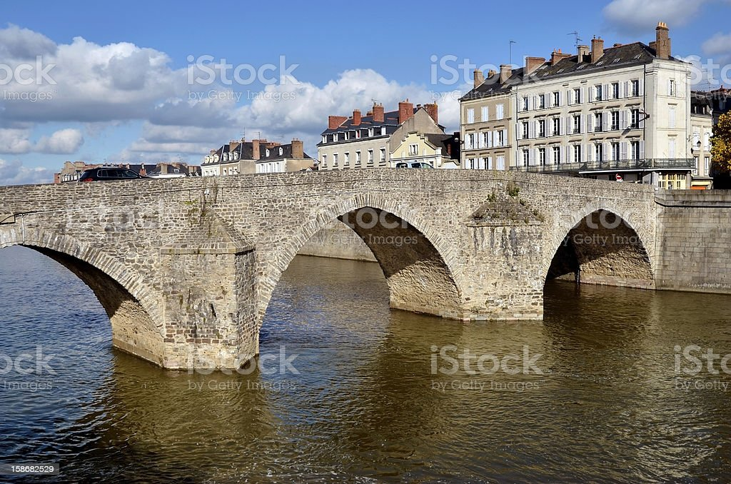 The old bridge at Laval in France stock photo