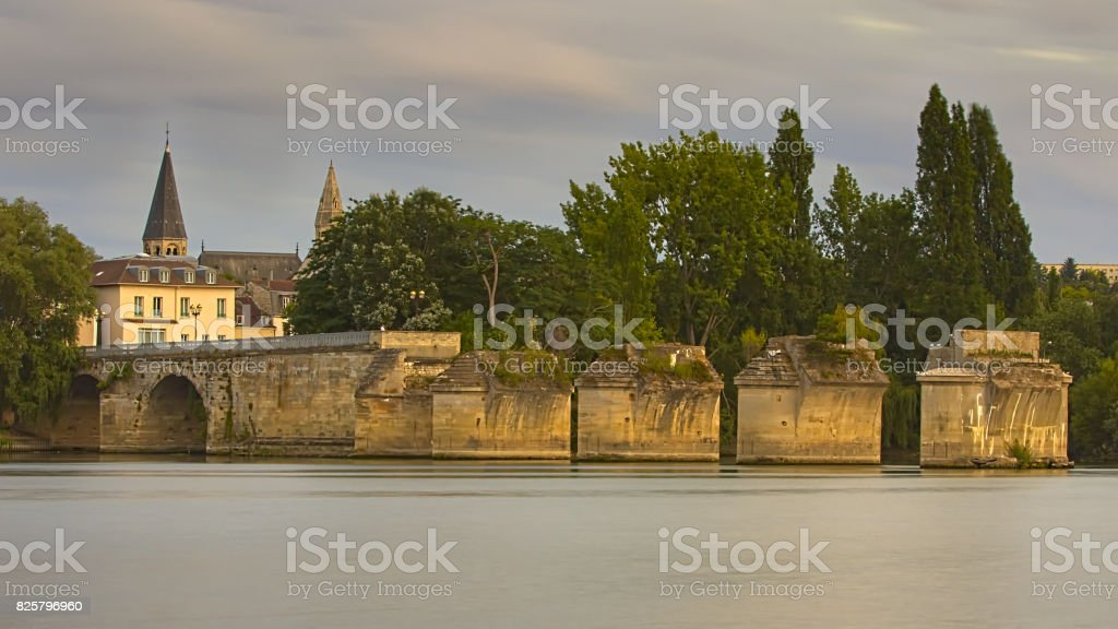 The Old Bridge in Poissy, France stock photo