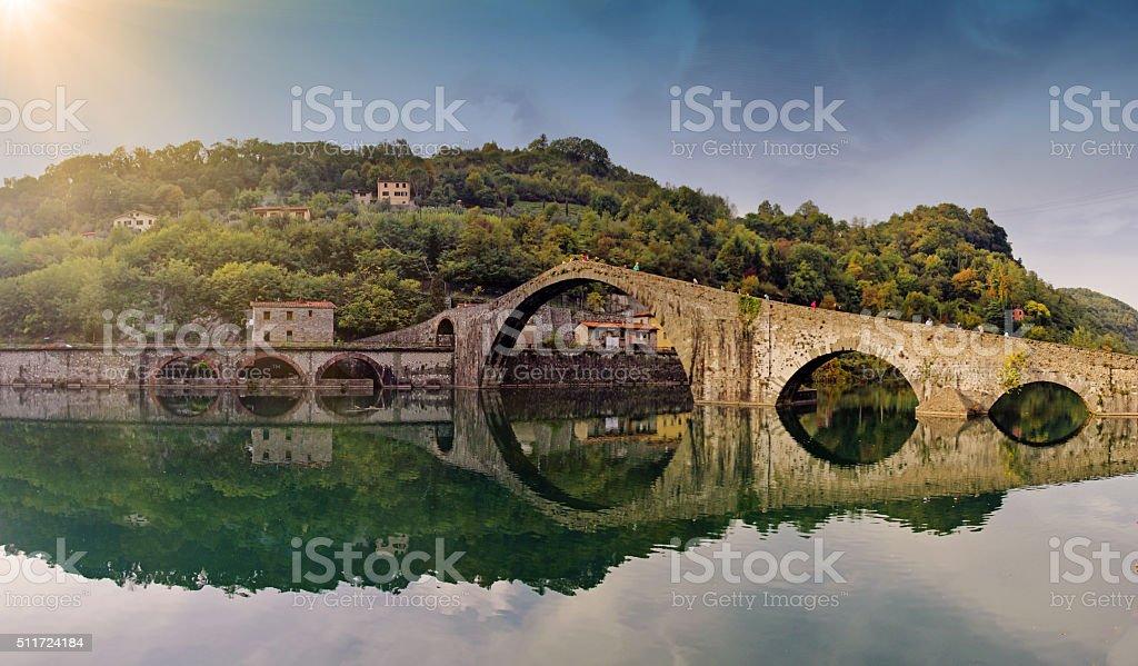 The old bridge known as Ponte della Maddalena stock photo