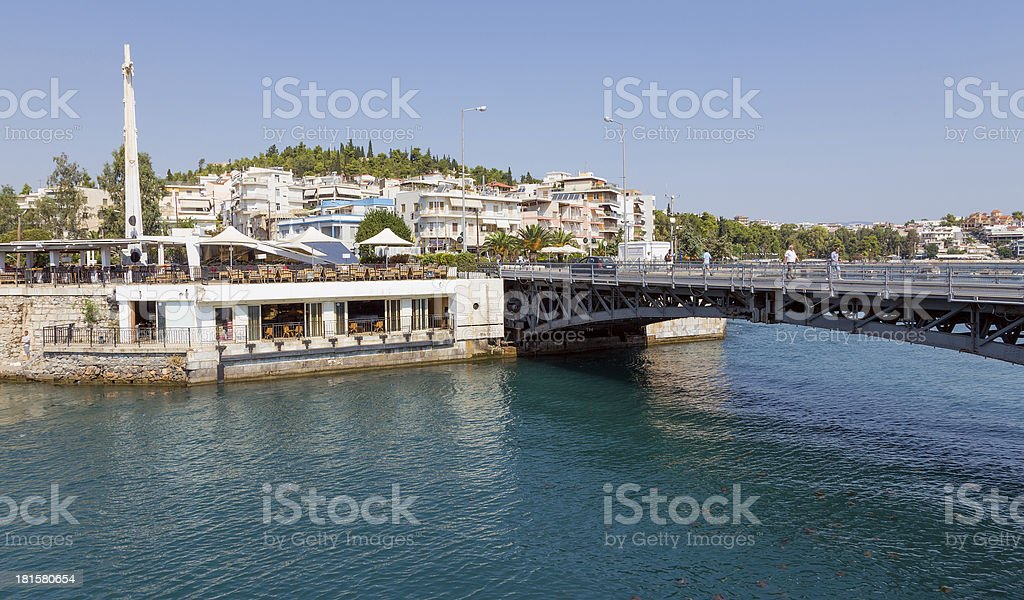 The old bridge of Khalkis, Euboea, Greece stock photo