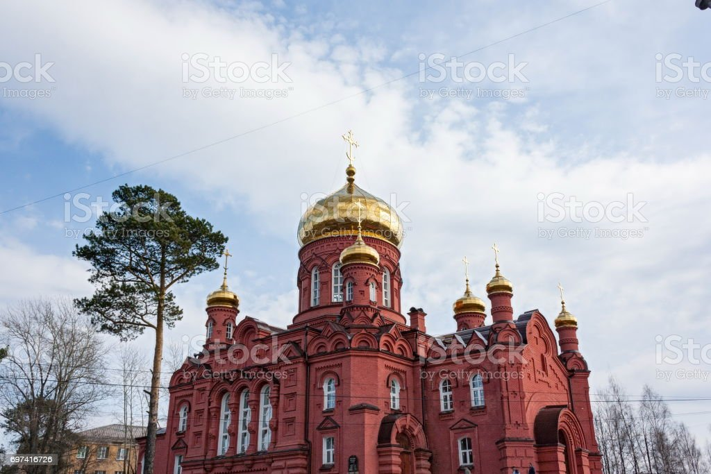 the old building of the Russian Orthodox Church stock photo