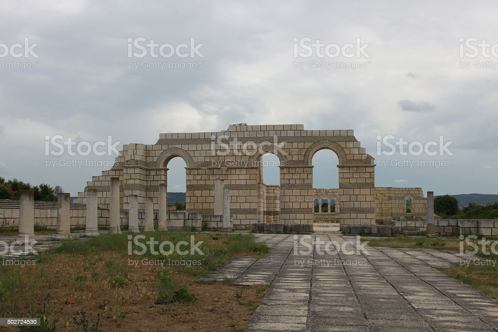 The old Bulgarian capital Pliska stock photo