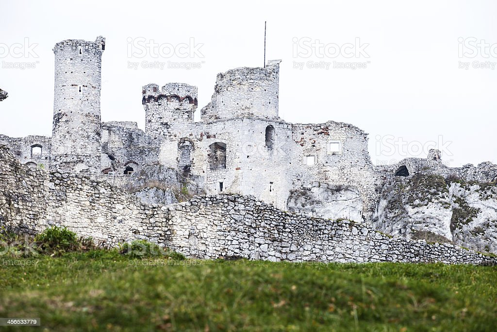 The old castle ruins of Ogrodzieniec fortifications, Poland. royalty-free stock photo