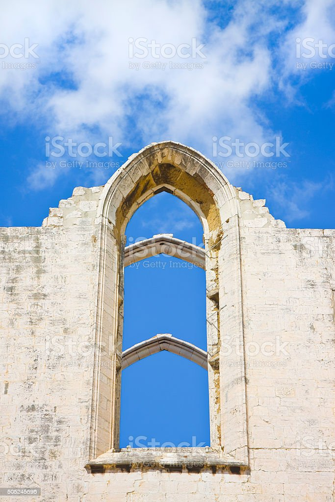 The old cathedral of Lisbon stock photo