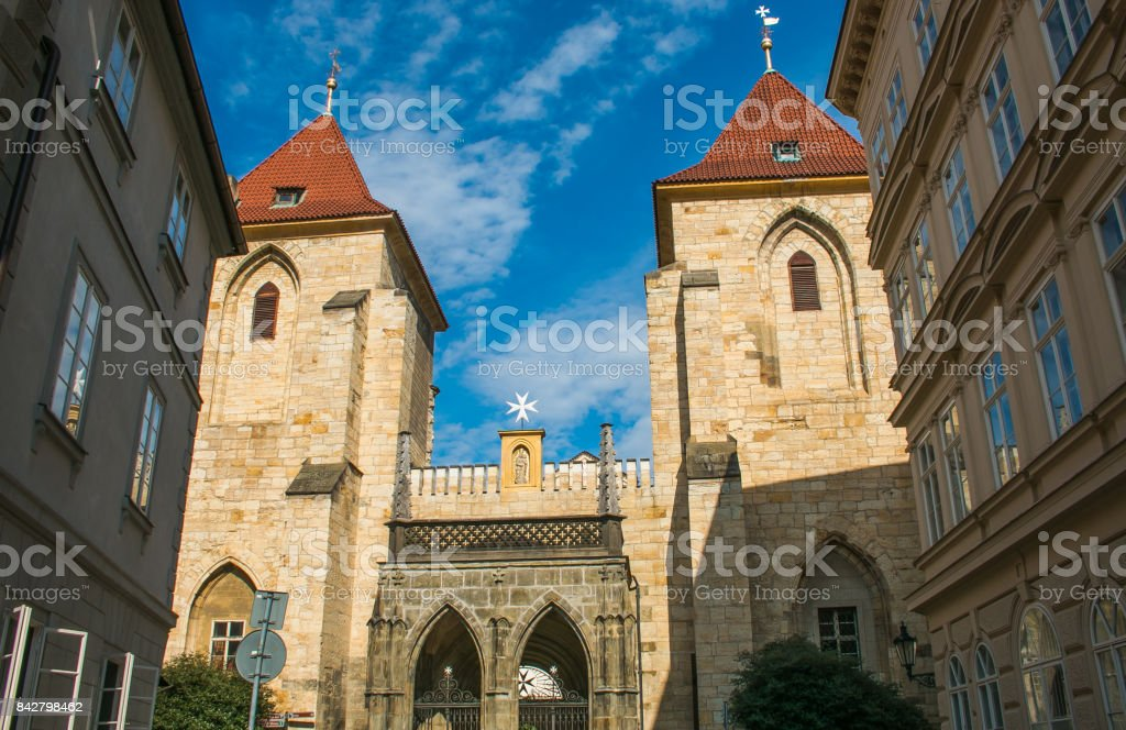 The old church of Our Lady under the Chain in the center of Prague stock photo