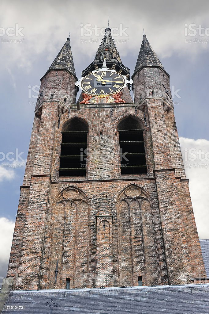 The old church tower in Delft. Netherlands royalty-free stock photo