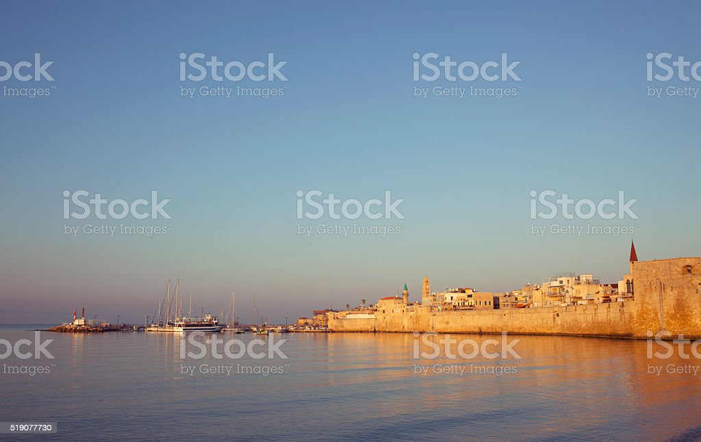 The old city of Akko bay, Israel. stock photo