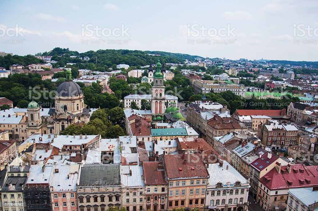 the old city of lvov from height stock photo