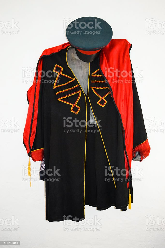 The old Cossack jacket and cap. National Cossack clothes stock photo