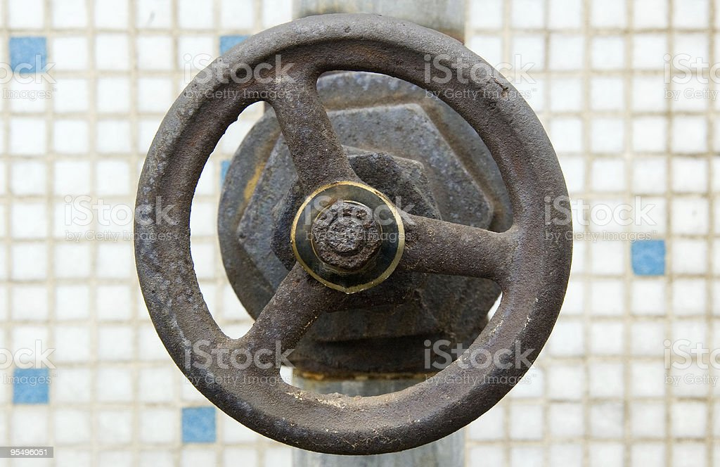The old dirty gas value open wheel handle royalty-free stock photo