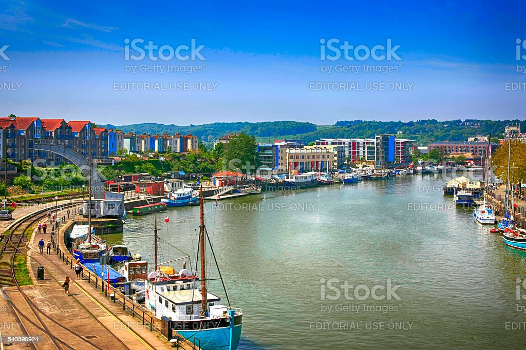 The old docks on the River Avon at Bristol, UK stock photo