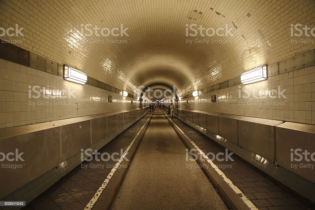The old Elbe tunnel (German Alter Elbtunnel) stock photo
