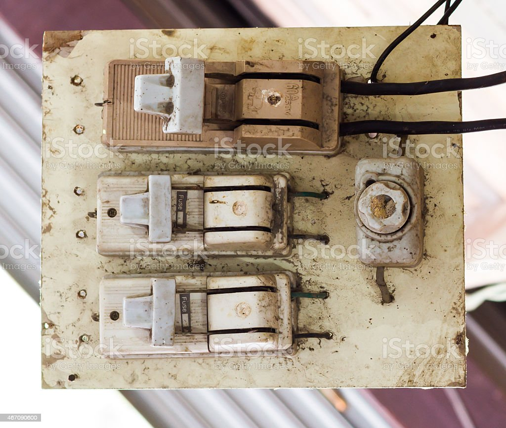 The old electricity switch, breaker. stock photo