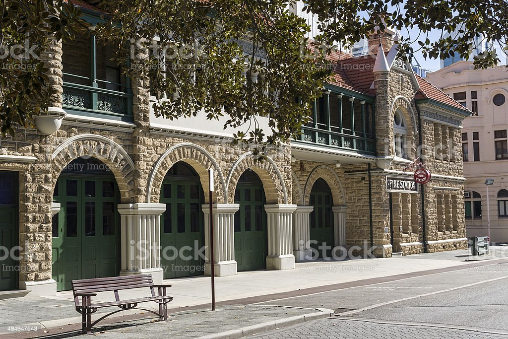 The old fire station building in Perth in Western Australia stock photo