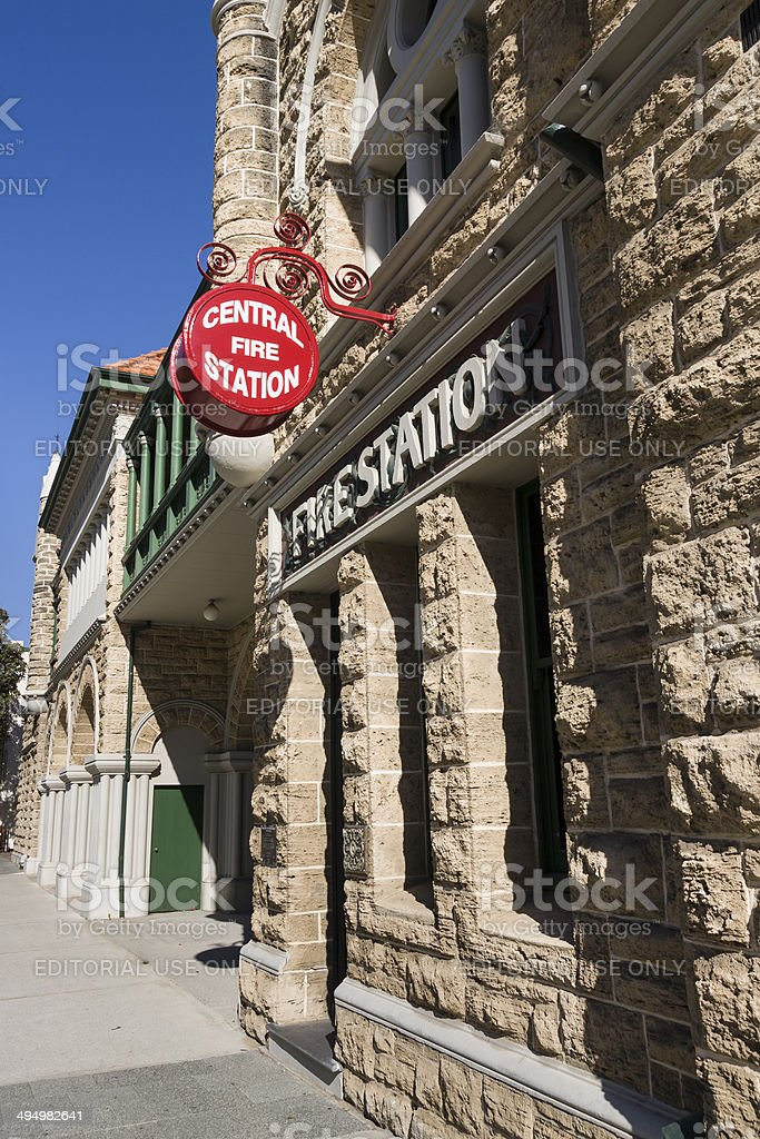 The old fire station building in Perth in Western Australia royalty-free stock photo