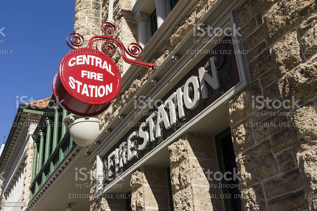 The old fire station signage in Perth in Western Australia stock photo