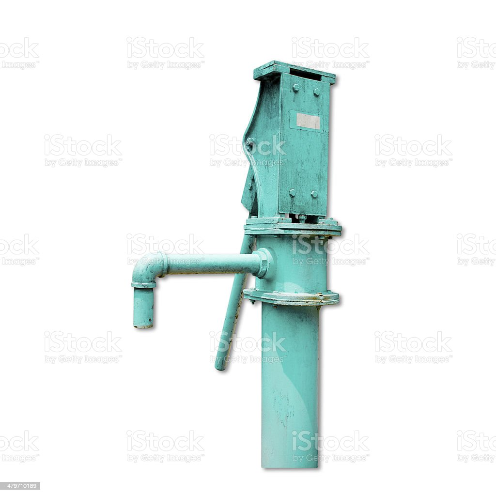 The old hand-powered water pump isolated on white background royalty-free stock photo