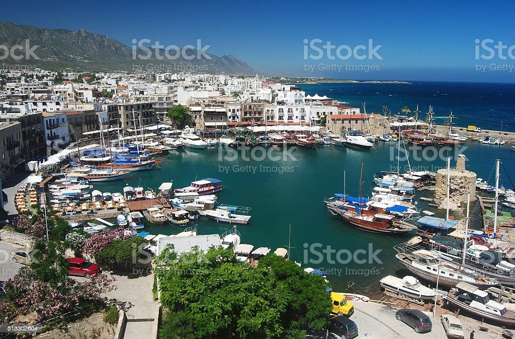 The Old Harbour in Kyrenia, Cyprus. stock photo