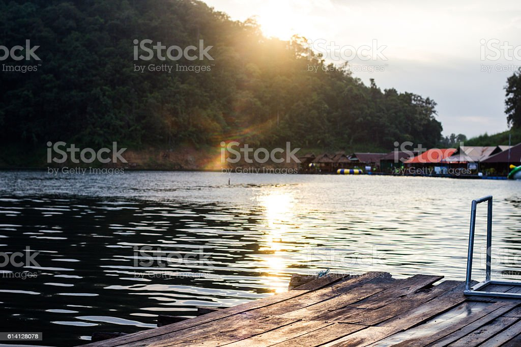 the old house on float in chaingmai thailand stock photo