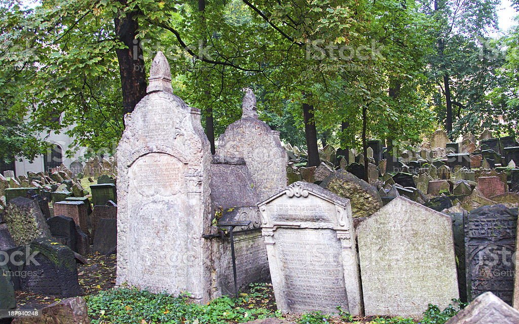 The Old Jewish Cemetery in Prague stock photo