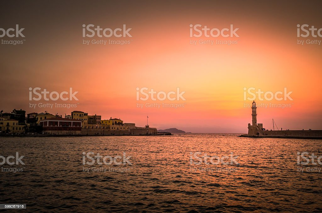 The old lighthouse of Chania at sunset, Crete Island, Greece stock photo