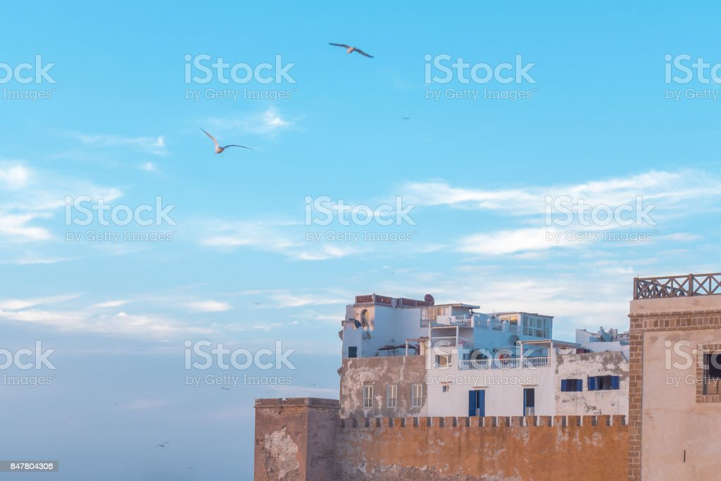 The old medina by the wall at Essaouira. stock photo