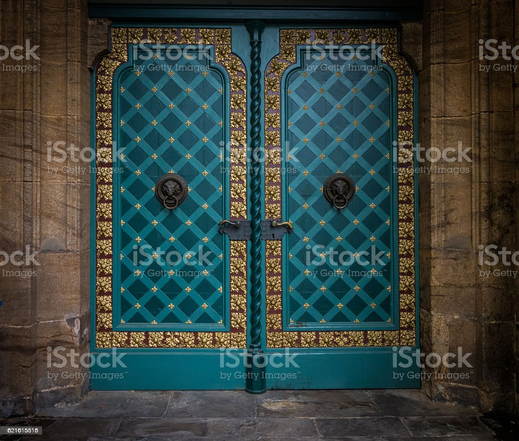 The old  metal door of stone building in Minden  Germany stock photo