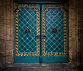The old  metal door of stone building in Minden  Germany
