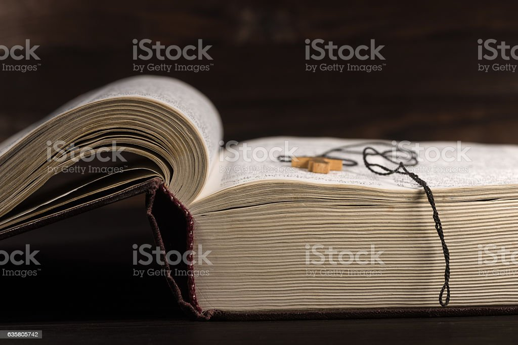 The old open book - the Holy Bible stock photo