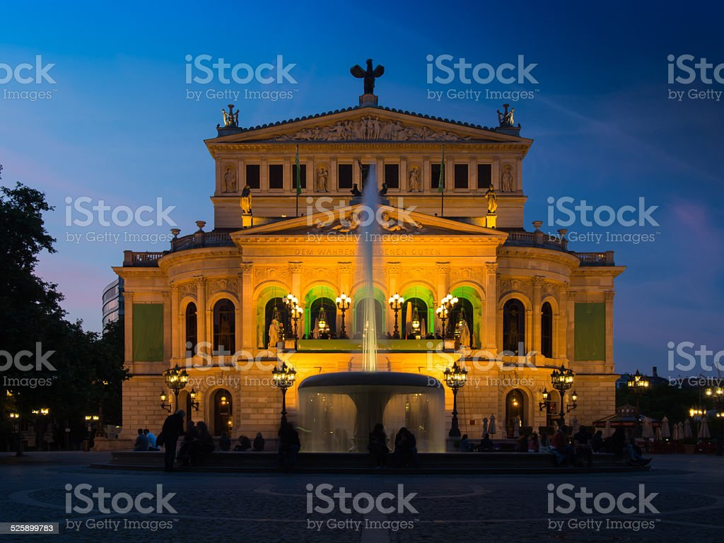 The Old Opera, Alte Oper, in Frankfurt, Germany, at sunset. stock photo
