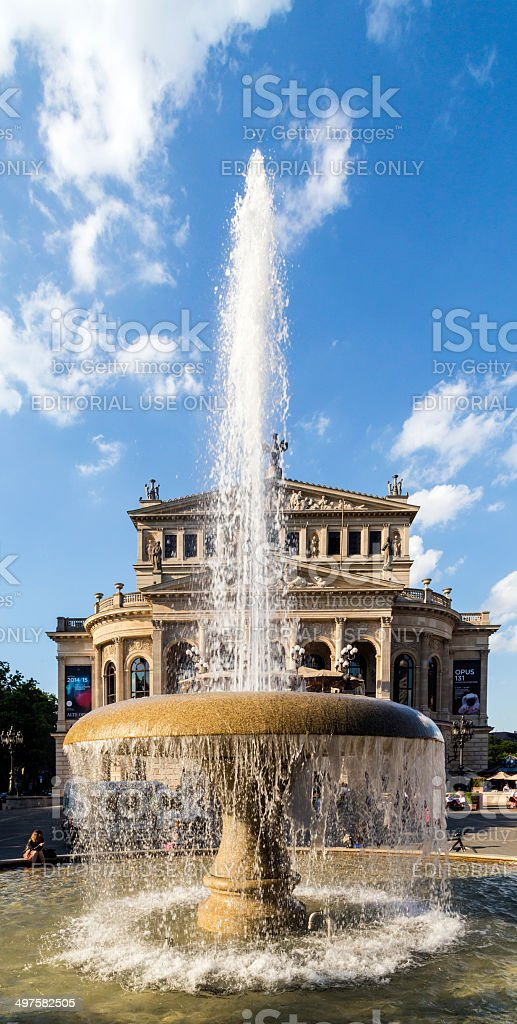 The Old Opera House  in Frankfurt with Lucae fountain stock photo
