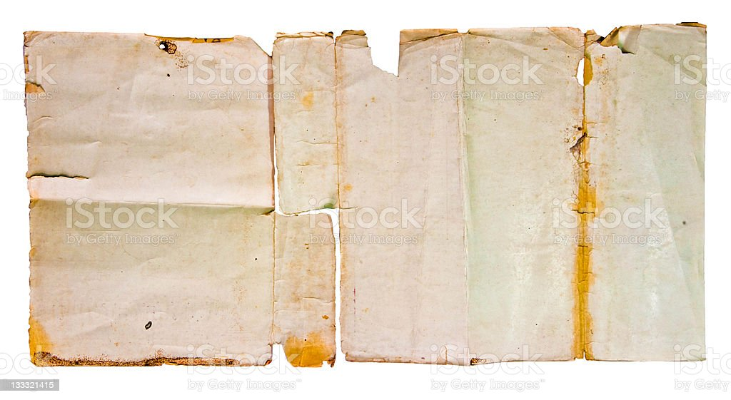 The Old paper isolated on white background royalty-free stock photo