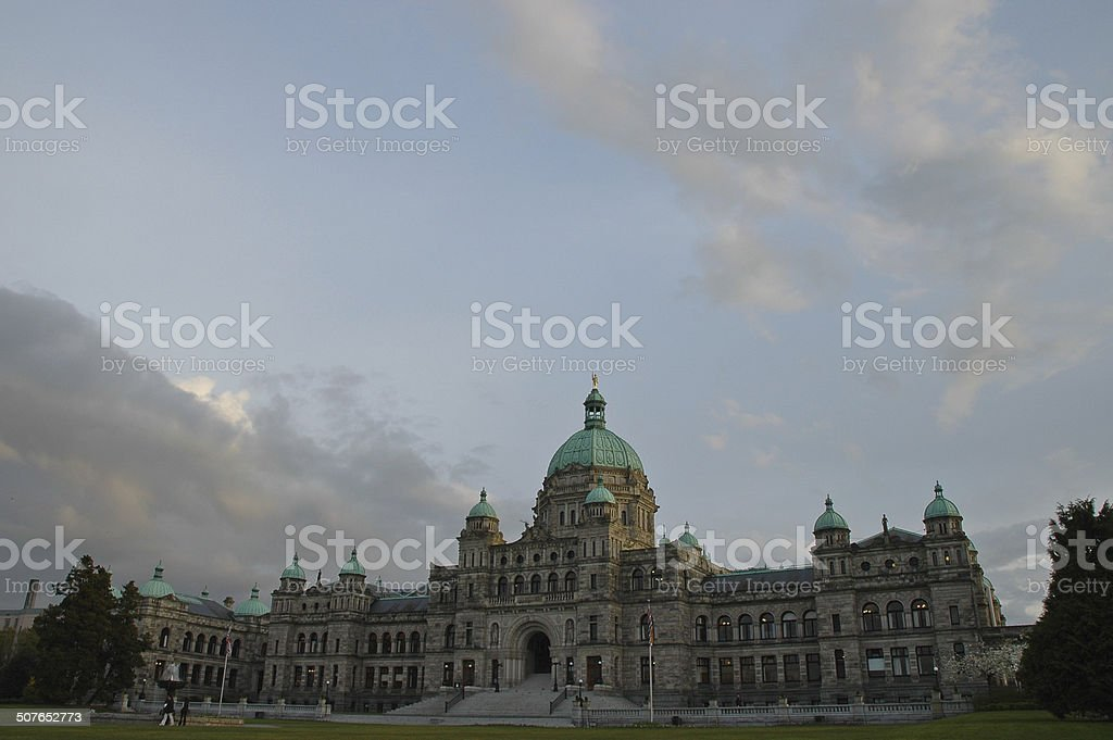 The old parliament in Victoria Canada  in peaceful evening stock photo