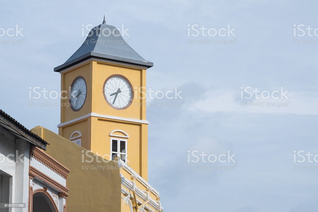 The old police station clock tower in Phuket, Thailand stock photo