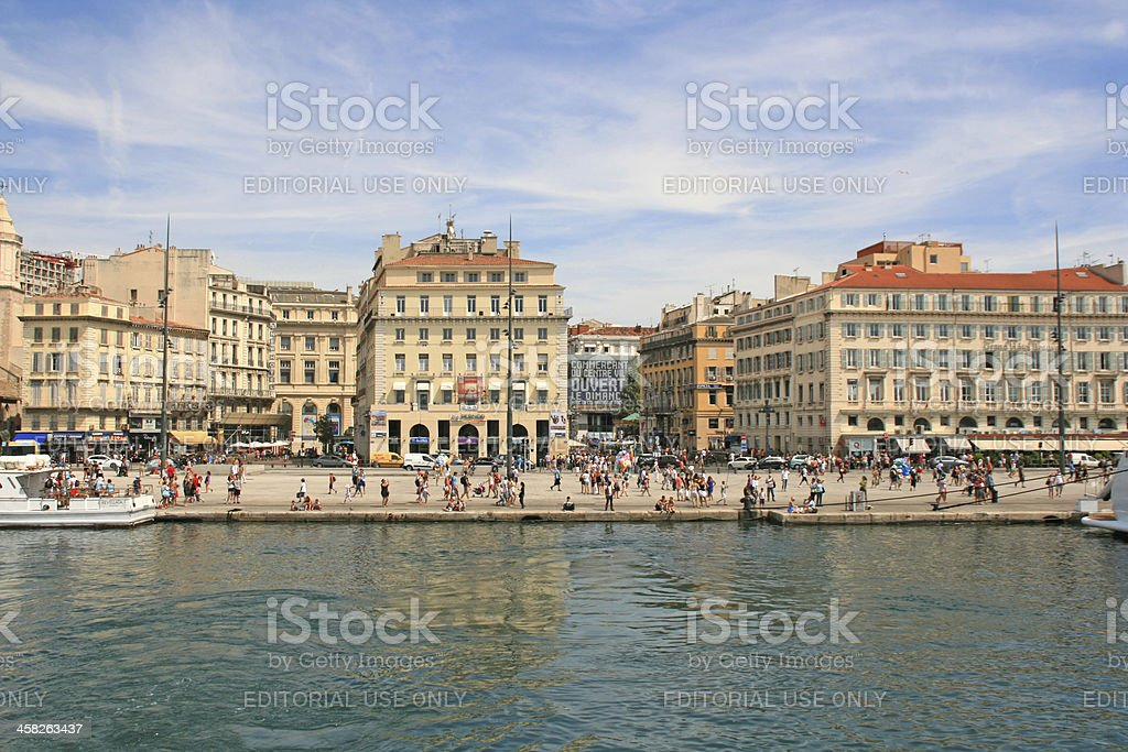 The old port of Marseille, France. stock photo