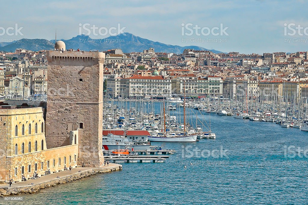 The Old Port of Marseille with Fort Saint Jean stock photo